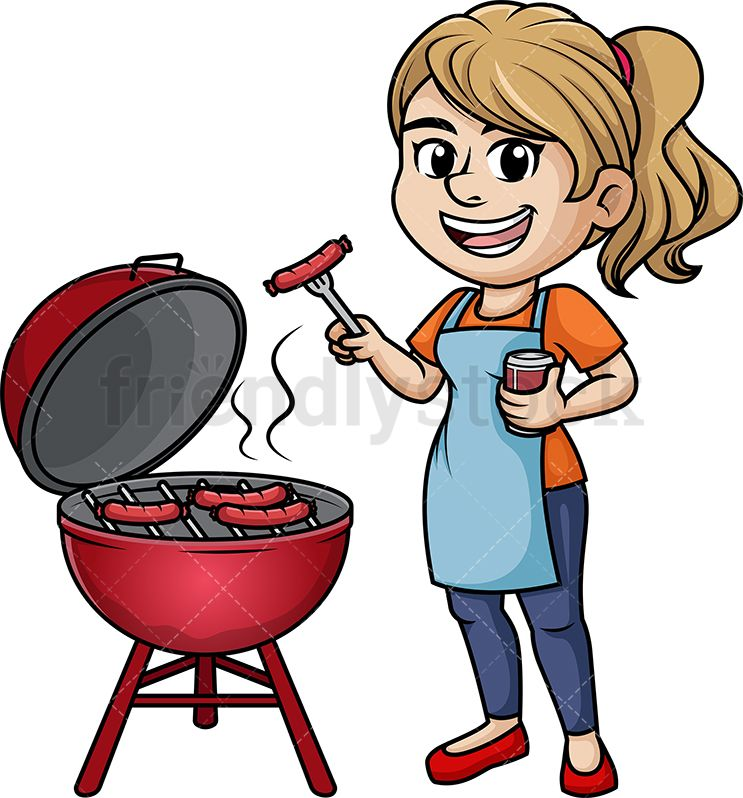 Woman Grilling Chicken Wings Cartoon Vector Clipart