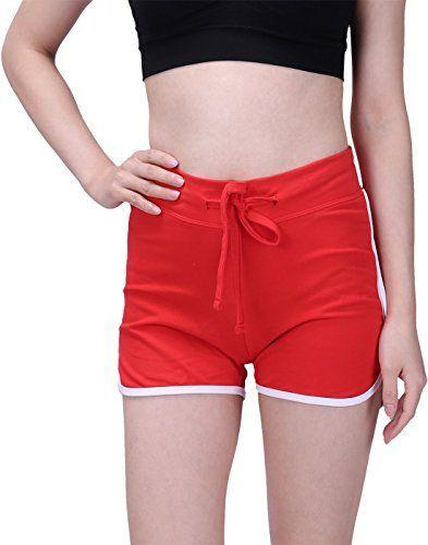 HDE Women s Retro Fashion Dolphin Running Workout Shorts (Red 8bb5461e25e