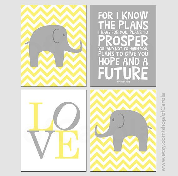 Yellow Gray Chevron Elephant Wall Art Print Set FOUR, Personalized ...