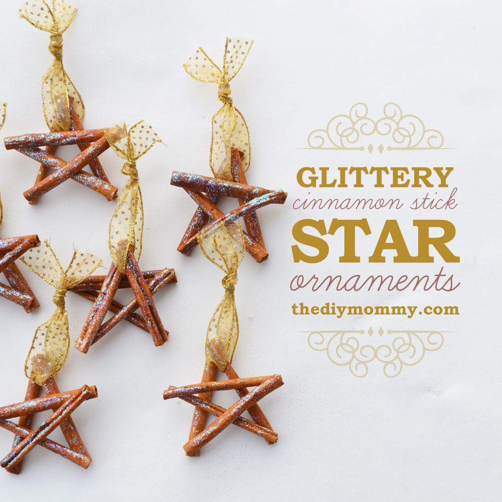 glittery cinnamon stick star ornaments by the diy mommy - Homemade Christmas Star Decorations
