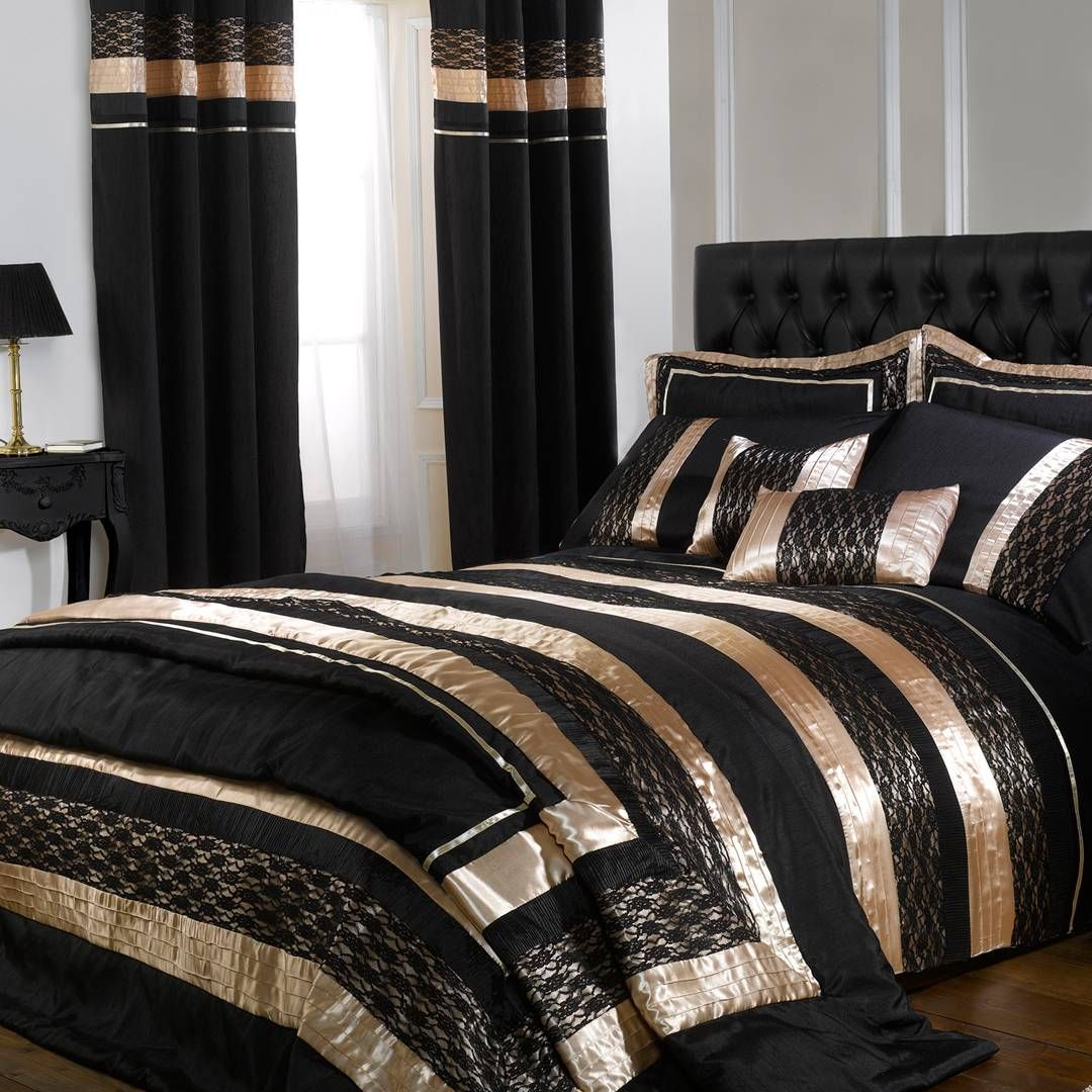 Cascade Blackgold Midnight Double Duvet Cover Set Ideas For The