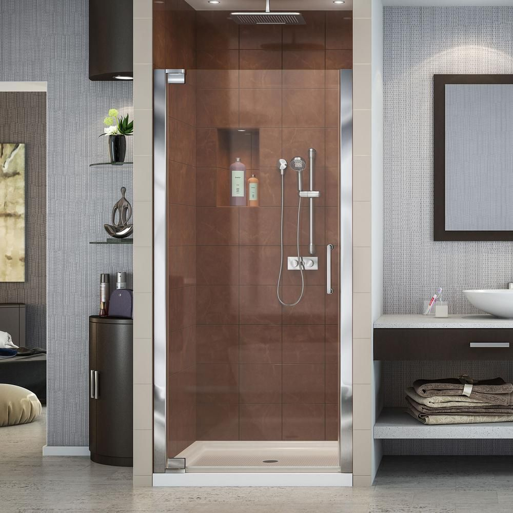 Dreamline Elegance 32 1 4 In To 34 1 4 In X 72 In Semi Frameless Pivot Shower Door In Chrome Shdr 4132720 01 Frameless Shower Doors Shower Doors Frameless Shower