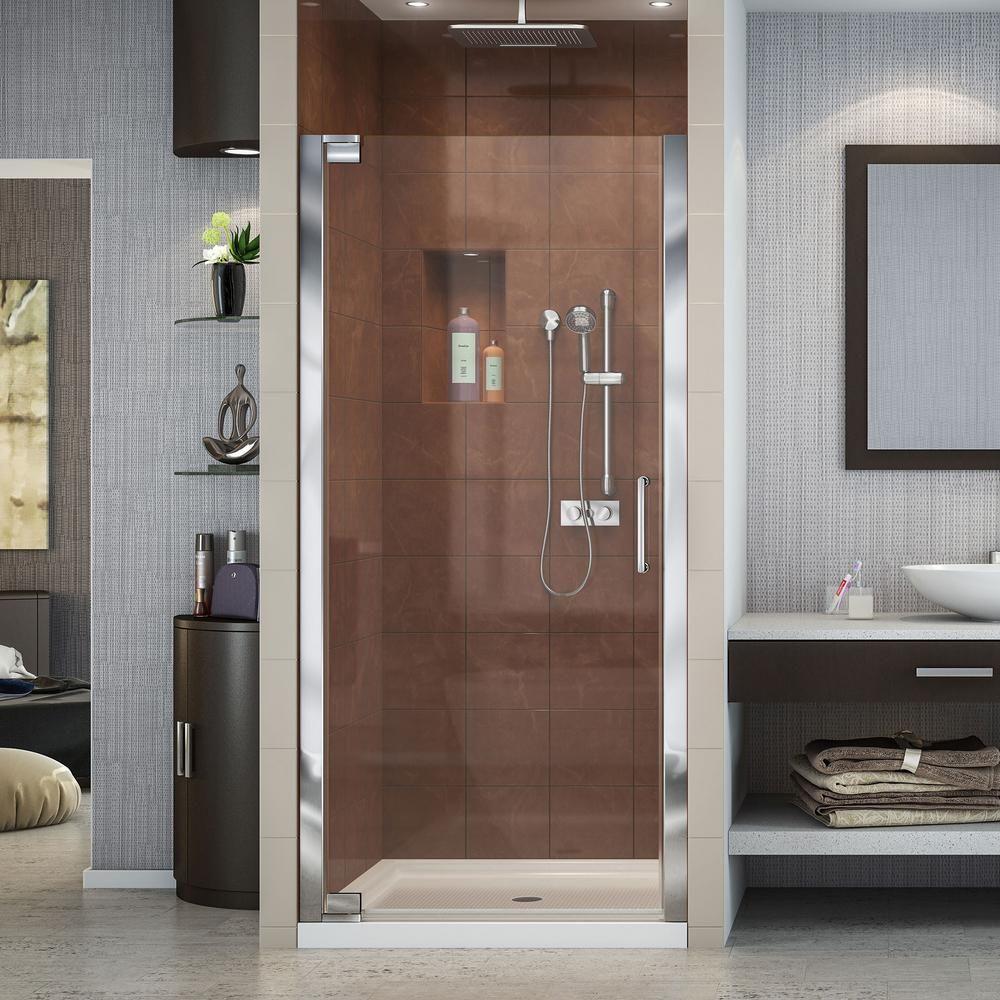 Dreamline Elegance 32 1 4 In To 34 1 4 In X 72 In Semi Frameless Pivot Shower Door In Chrome Shdr 4132720 01 Frameless Shower Doors Frameless Shower Shower Doors