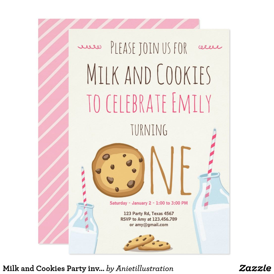 Milk and Cookies Party invitation Girl Birthday | Zazzle.com #babyboy1stbirthdayparty