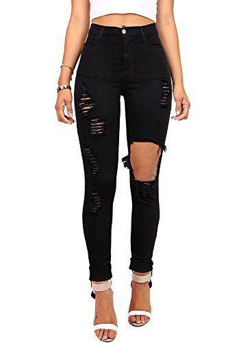 68ad6f5530 Pink Ice Womens Juniors Ripped New High Rise Skinny Jeans Black 5 ** Learn  more by visiting the image link. (Note:Amazon affiliate link)