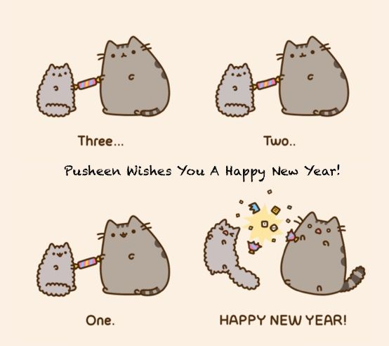 Awesome Pusheen Wenst Je Een Happy New Year