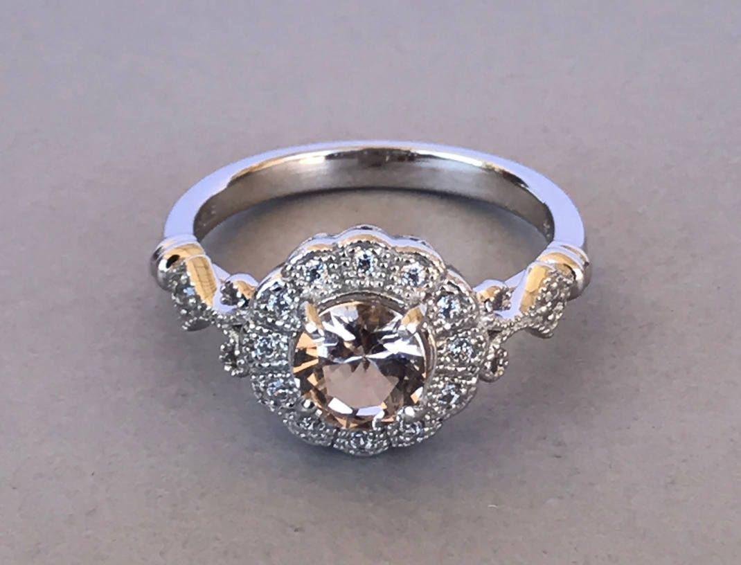 morganite ring halo vintage sterling silver cut