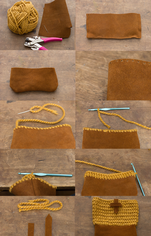 Learn To Crochet Yarn And Leather Bag Pattern Crochet Bag Pattern Leather Bag Pattern Bag Pattern