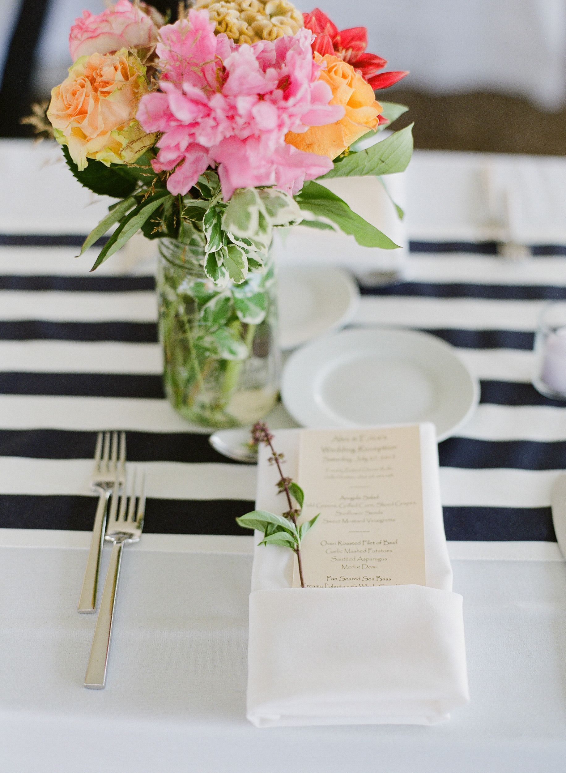 Simple napkin, menu place setting Photography: Summer Street Photography - www.summerstreetphotography.com  Read More: http://www.stylemepretty.com/2014/06/10/rustic-meets-preppy-vineyard-wedding-at-rosedale-farms-by-summer-street-photography/  #LGLimitlessDesign #Contest