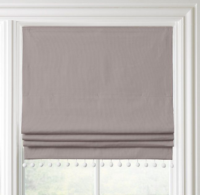 RH Baby & Child's Pom-Pom Linen-Cotton Roman Shade:Once a sewing basket staple, sweet pom-pom trim puts a playful spin on our polished yet casual linen roman shade.