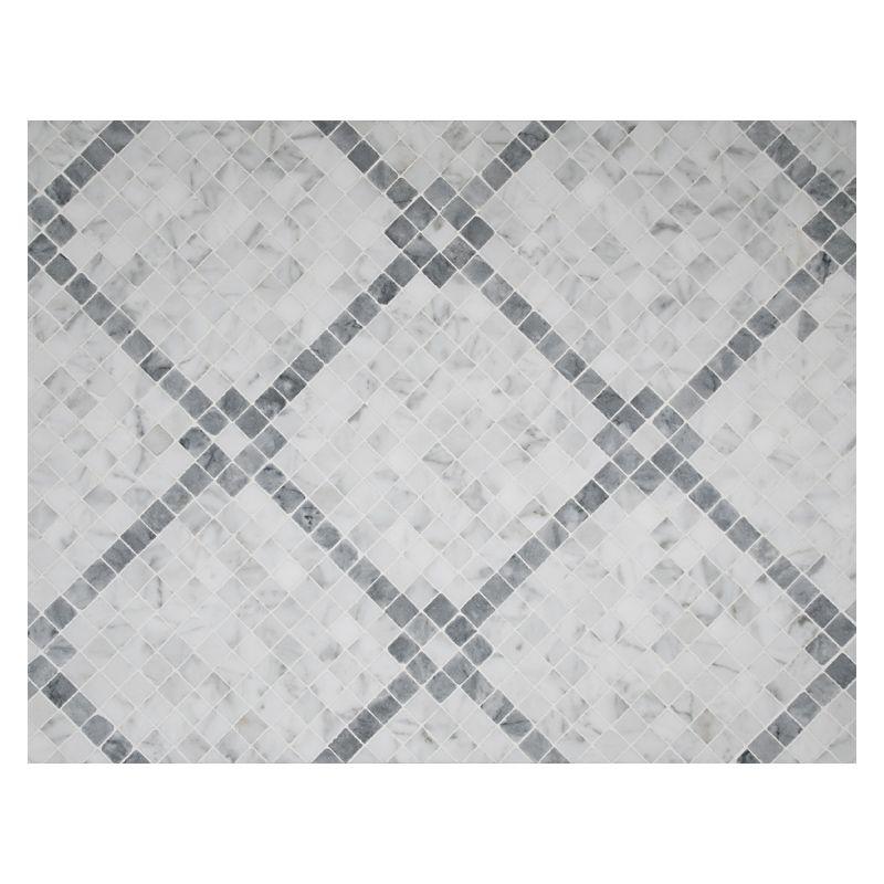 Complete Tile Collection Unique Mosaic Tile Patterns, Rothchild's Grid Pattern Mosaic, MI#: 268-S2-400-817, Color: Bianco Carrara  Mugwort Grey-Green