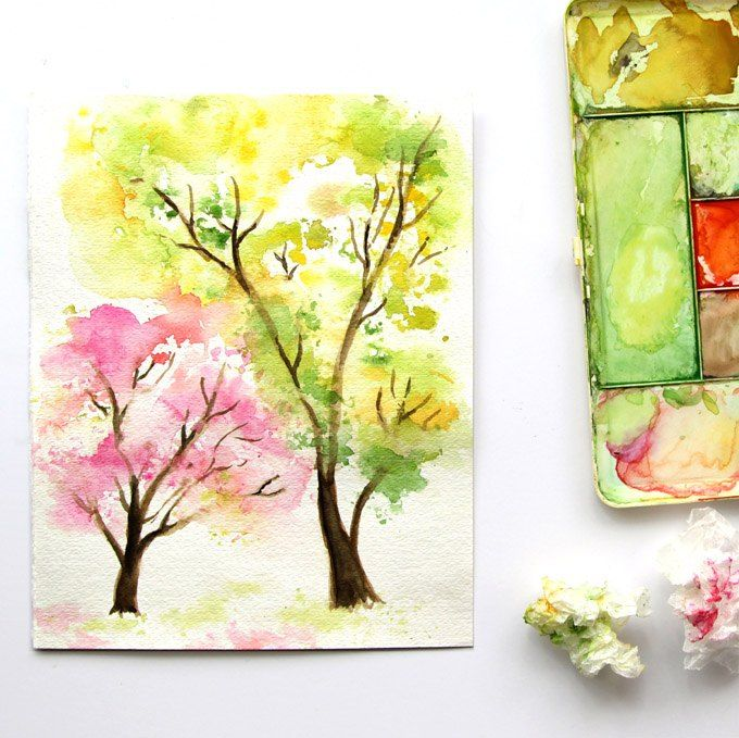 Paint Spring Tree Watercolor With Crumbled Paper Watercolor