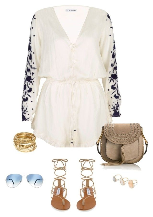 """""""Untitled #85"""" by faithfullystylish ❤ liked on Polyvore featuring Pampelone, Steve Madden, Chloé, ABS by Allen Schwartz, Ray-Ban, playsuit and holiday"""