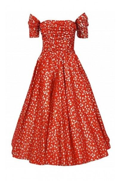 739aea7329a44e 1950's Fred Perlberg Red Atomic Print Metallic Silk Ruched Circle-Skirt  Dress, Los Angeles