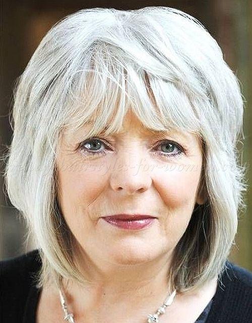 Medium length grey hairstyles over 50