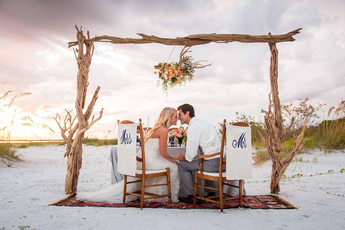 boho beach wedding style inspiration in blue & gold