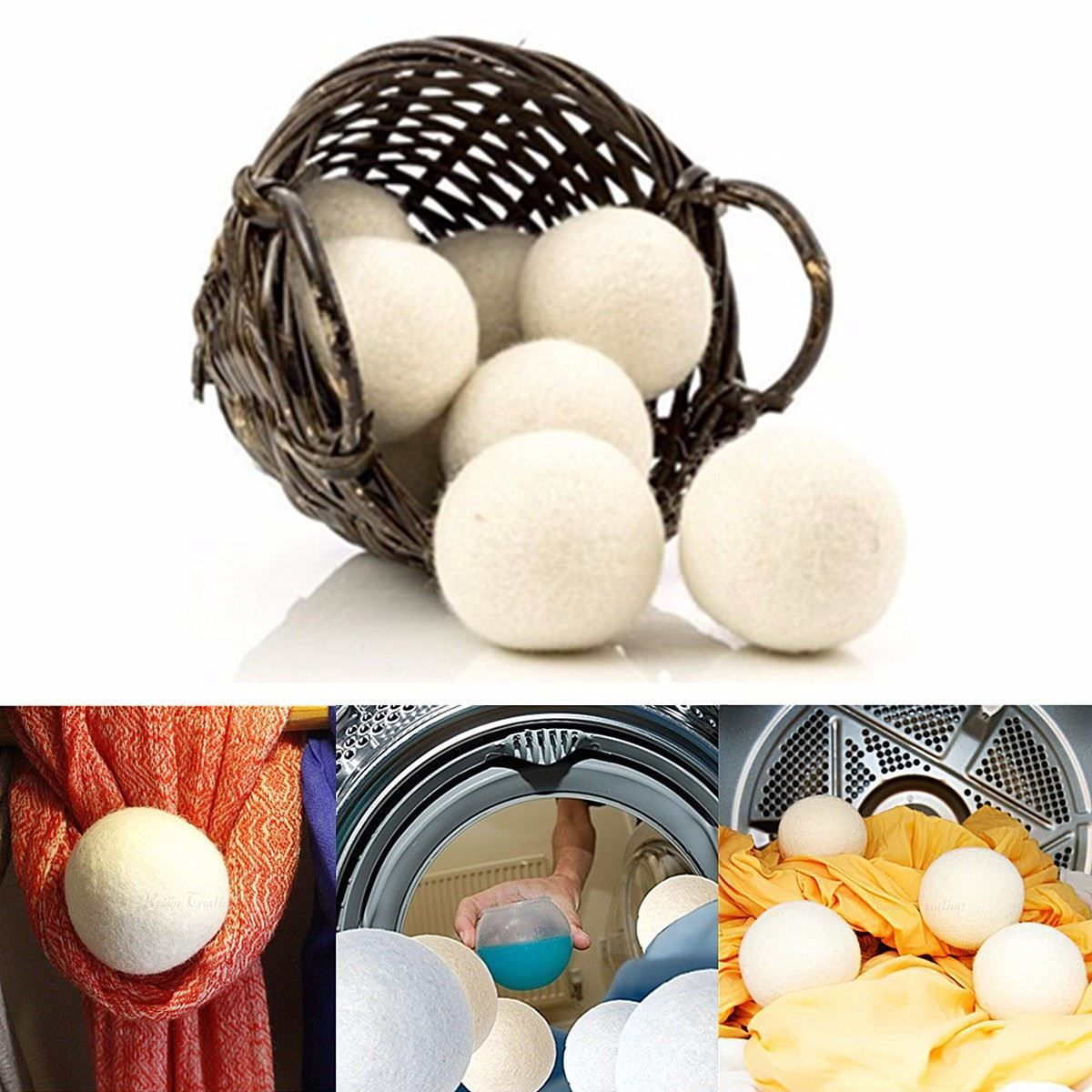 6pcs Pack Laundry Clean Ball Reusable Natural Organic Laundry Fabric Softener Ball Premium Organic Wool Dr Wool Dryer Balls Laundry Fabric Softener Dryer Balls