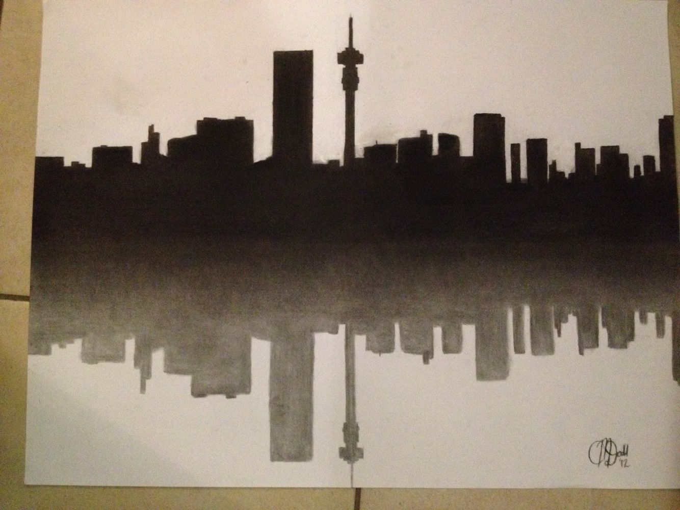 Charcoal Drawing Of The Johannesburg Skyline South Africa