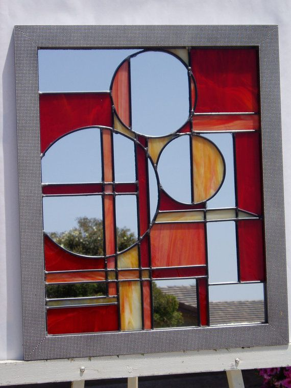 Items similar to Leaded Glass Mirror - Circles and Lines on Etsy