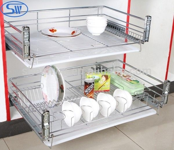 A02.05.003guangzhou Soft Closing 2tier Dish Racks Kitchen Cabinet Design  Wire Stainless Steel Drawer Baskets   Buy Kitchen Wire Drawer Basket,Pull  Out ...