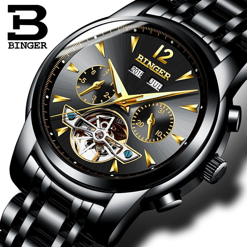 8bbf3268cea Switzerland BINGER Watches Men full Calendar Tourbillon sapphire multiple  functions Water Resist Mechanical Male Clock B8608M4 Review