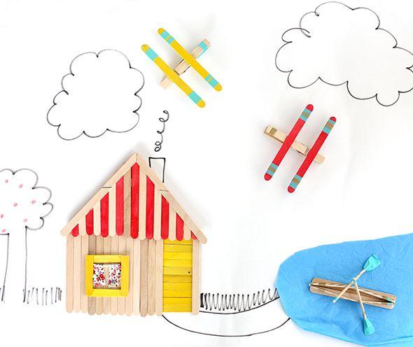 3 Cute Popsicle Stick Crafts Trabalhos Manuais Artesanato Com