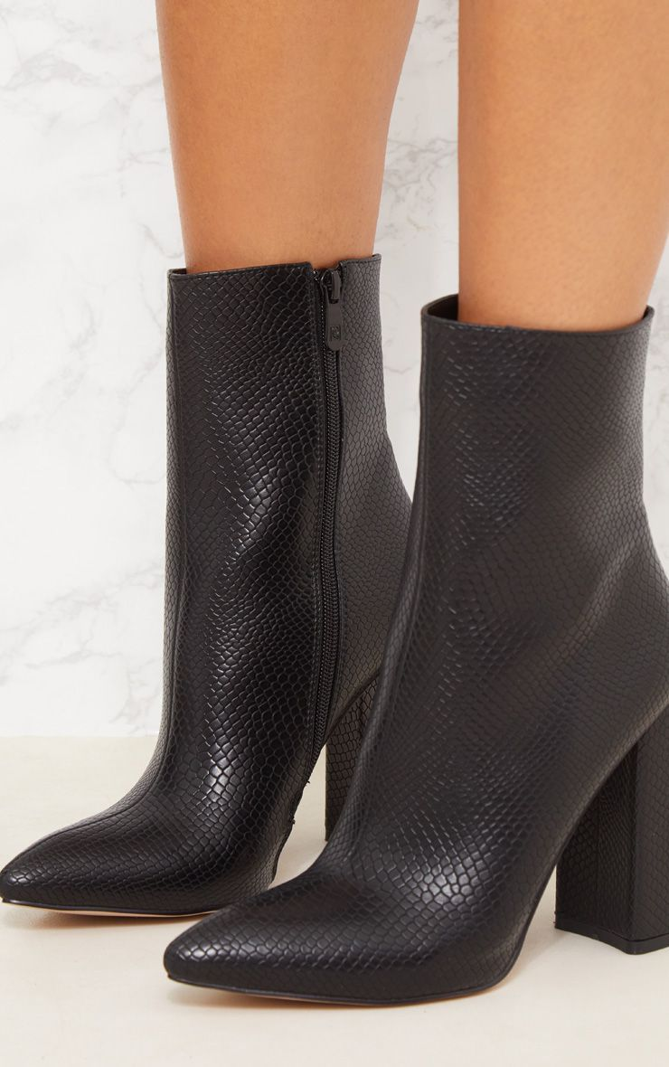 Black High Point Ankle Boot   Pointed