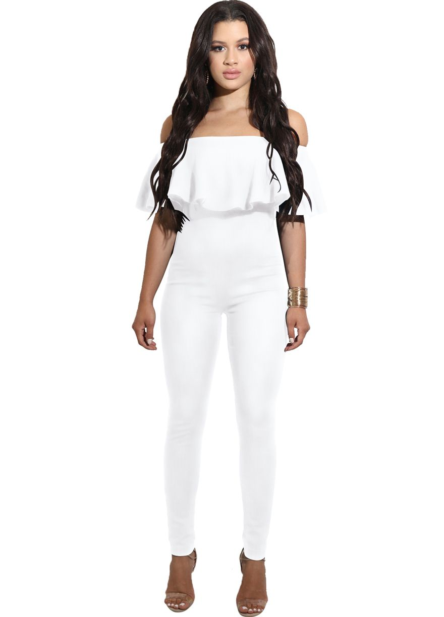 9d2f3f1bf17c Ruffle Off The Shoulder Slim Jumpsuit Jumpsuit   Rompers Women Clothes Sexy  Lingeire