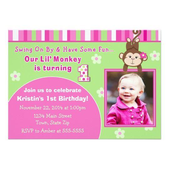 Monkey girl birthday invitation 5x7 photo card monkey girl girl monkey girl birthday invitation 5x7 photo card filmwisefo Choice Image