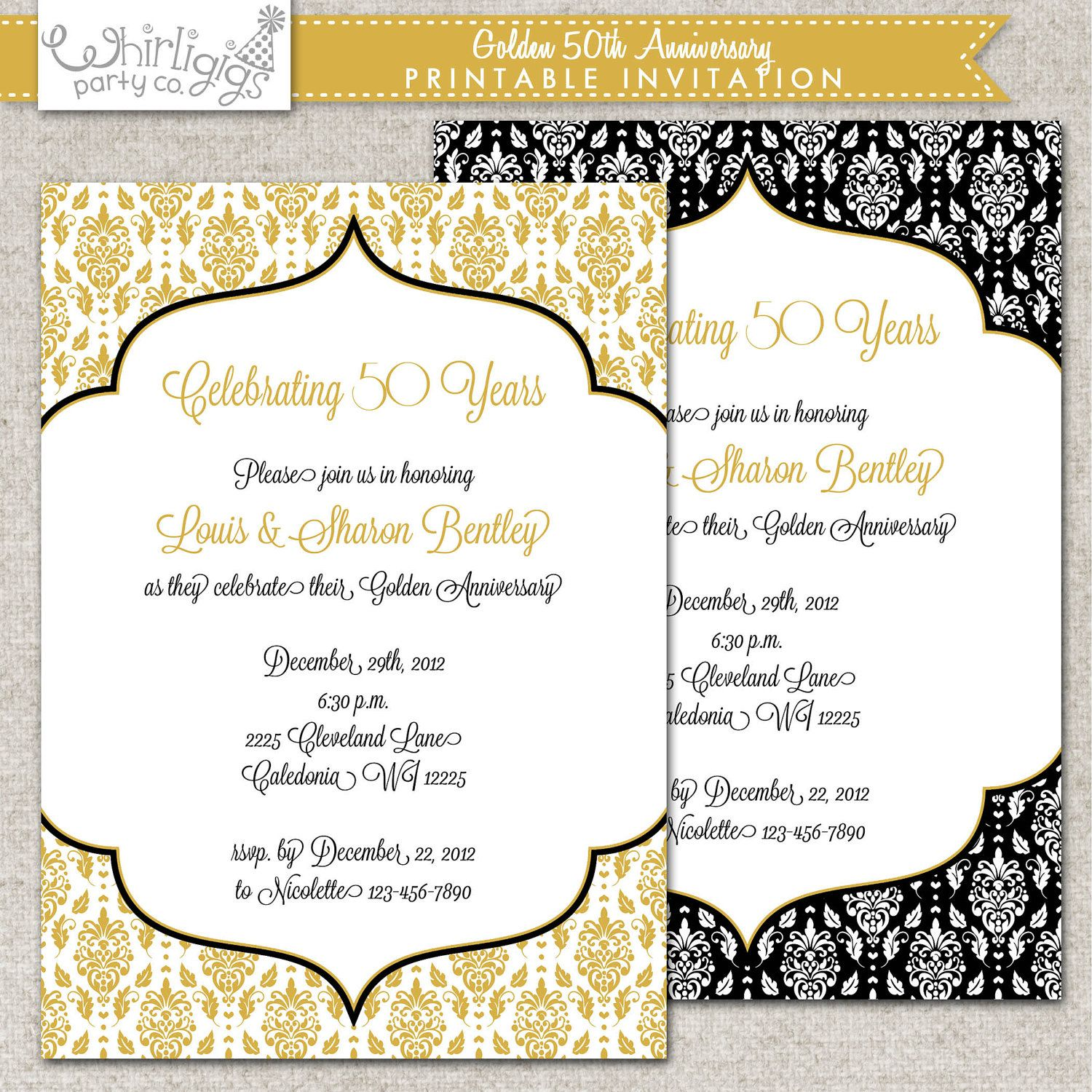 50th Wedding Anniversary Invitation Ideas: 50th Anniversary Invitation- Golden Anniversary Invitation
