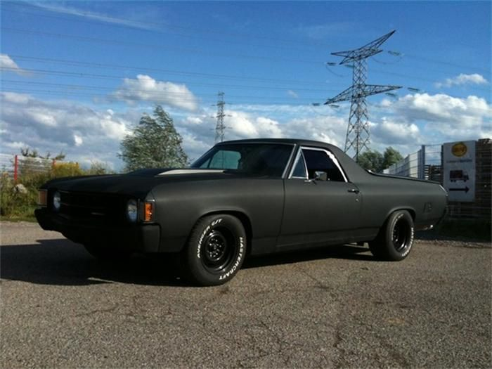 1971 El Camino  love that matte black paint  EL Camino