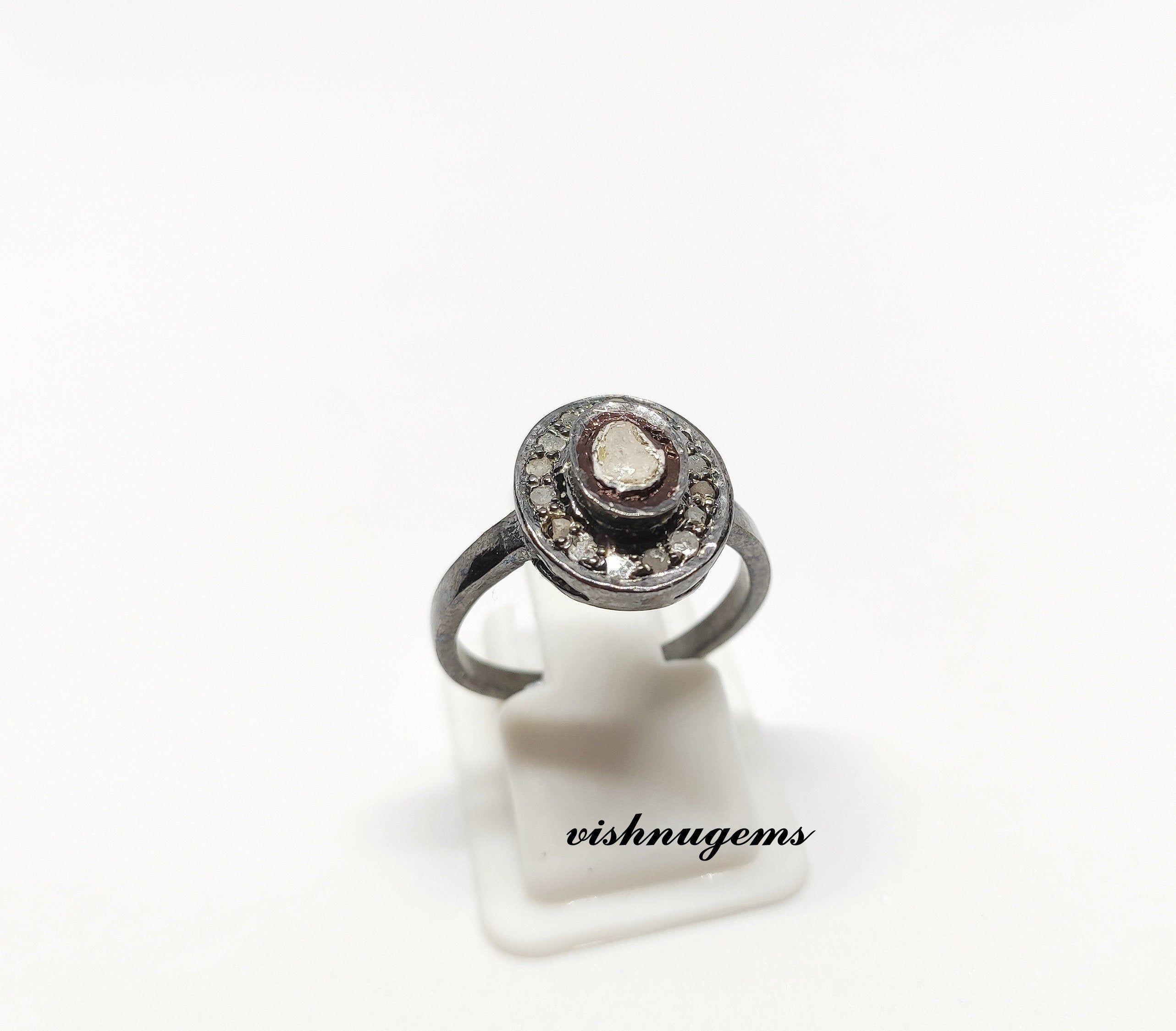 Polki Diamond 925 Silver Ring Beautiful Handmade Polki Ring Victorian Ring Polki Diamond Ring For Woman Polki Christmas Ring Silver Jewelry