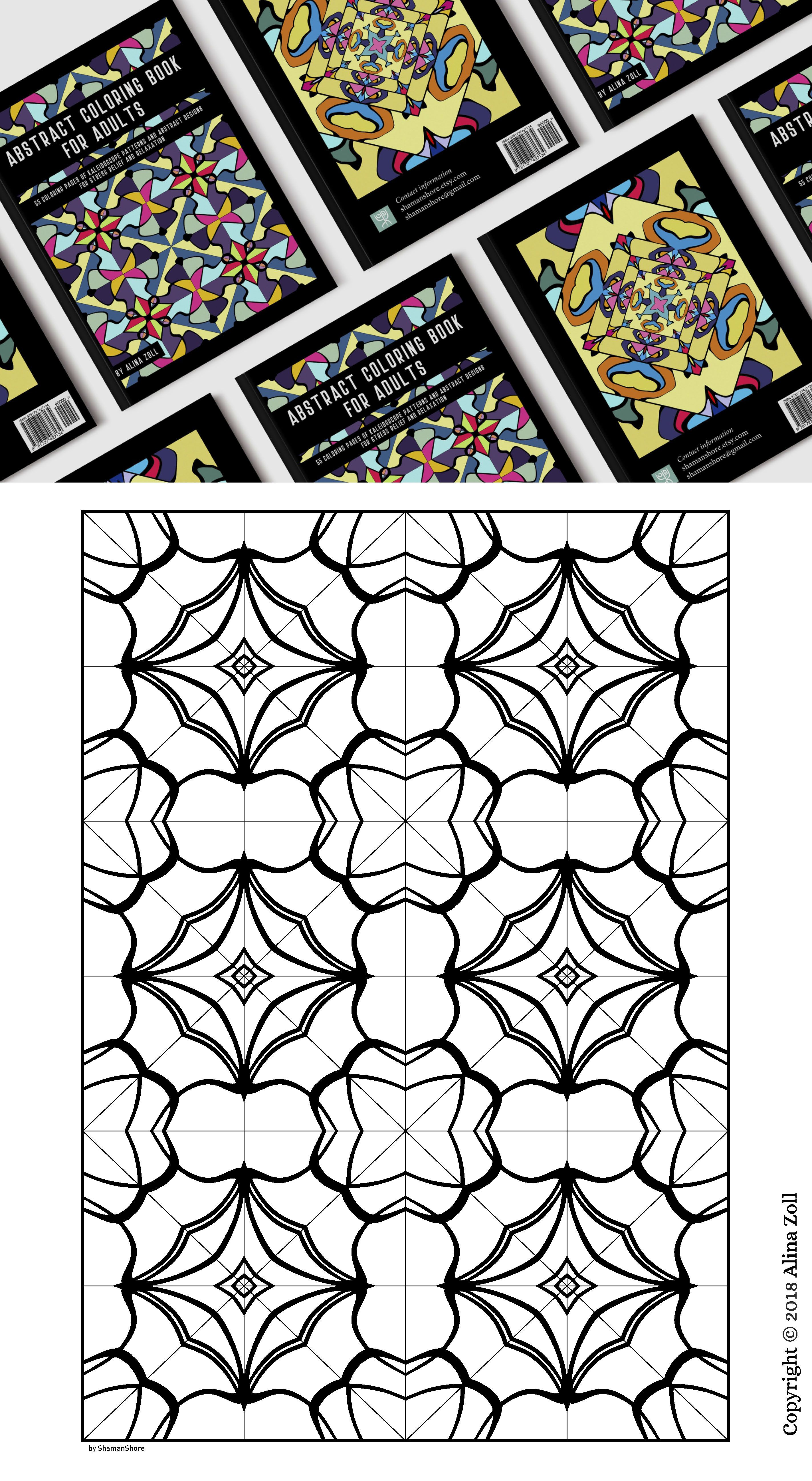 Abstract Coloring Book for Adults: 55 Adult Coloring Pages ...