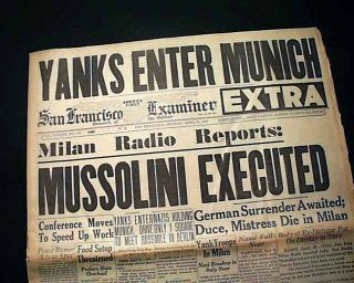 Image result for mussolini death newspaper