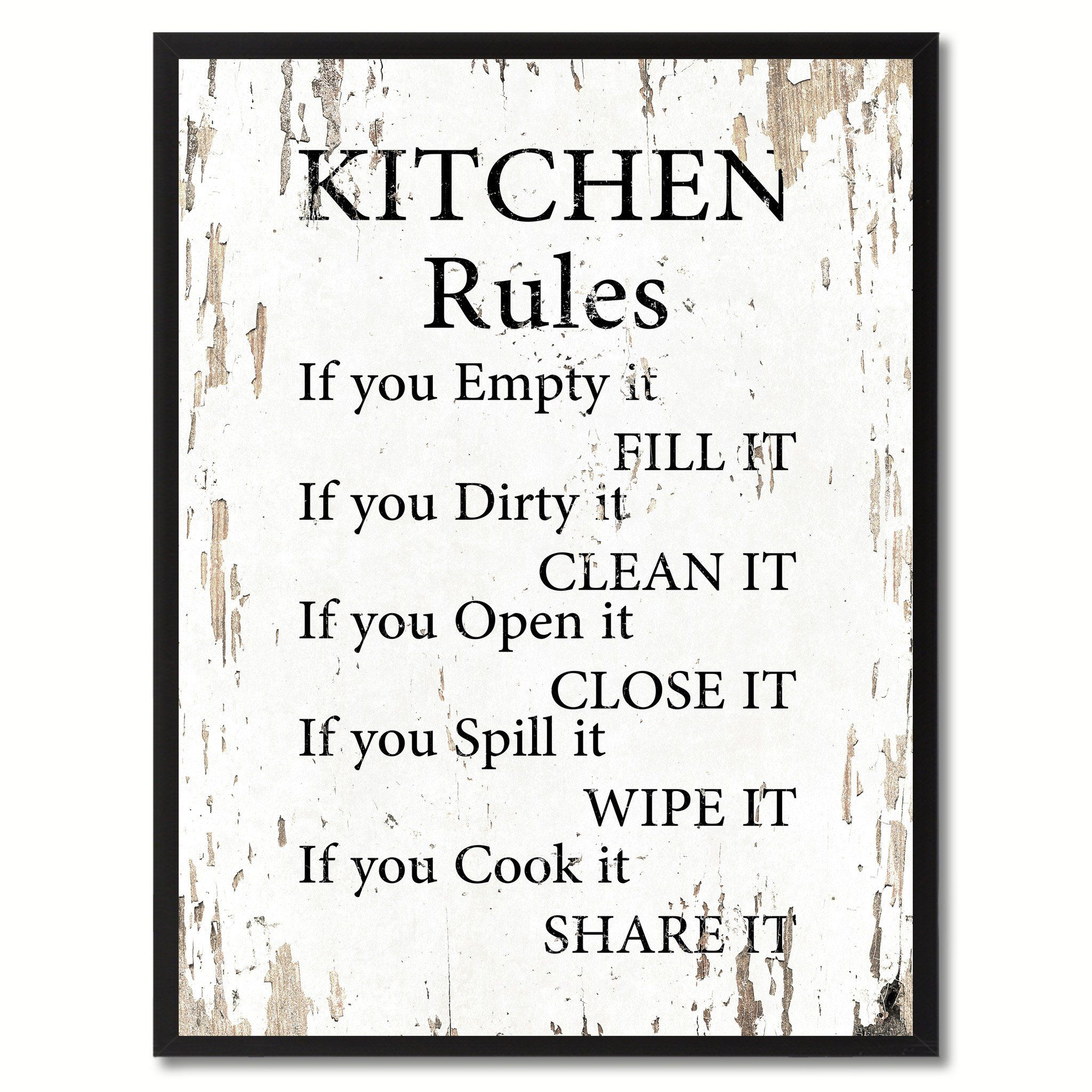 Kitchen Rules Saying Canvas Print, Black Picture Frame