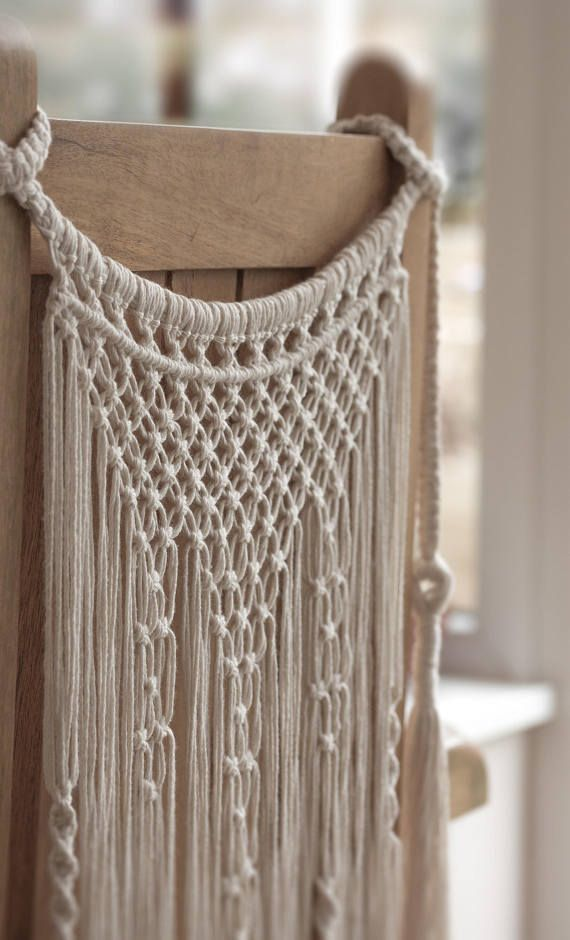 Handmade Macrame Chair Back Wedding Decor Boho Chic Wall Art Aztec Bohemian Creme Cotton Organic Yarn Tapestry Weave Crochet MADE TO ORDER