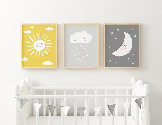Printable Nursery Art Set, Star Cloud Moon Sun nursery wall art