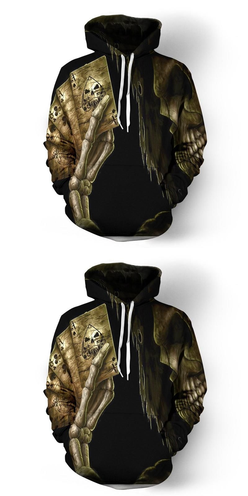 2017 new fashion Cool sweatshirt Hoodies Men women 3D print Skull Play the  card fashion hot 964d4028c82