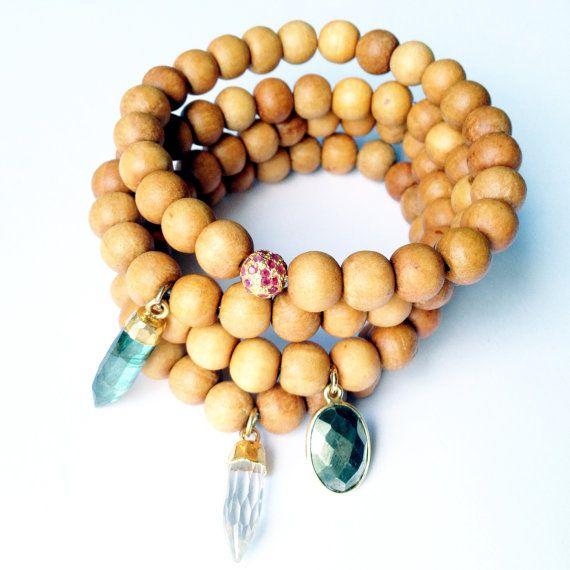 TenThings. Wood. PYRITE. Gemstone. Bracelet. by TenThings on Etsy, $78.00