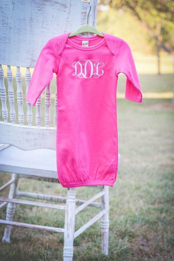 Monogrammed Infant/Newborn Gown/Layette in Pink, White, Grey, Black ...
