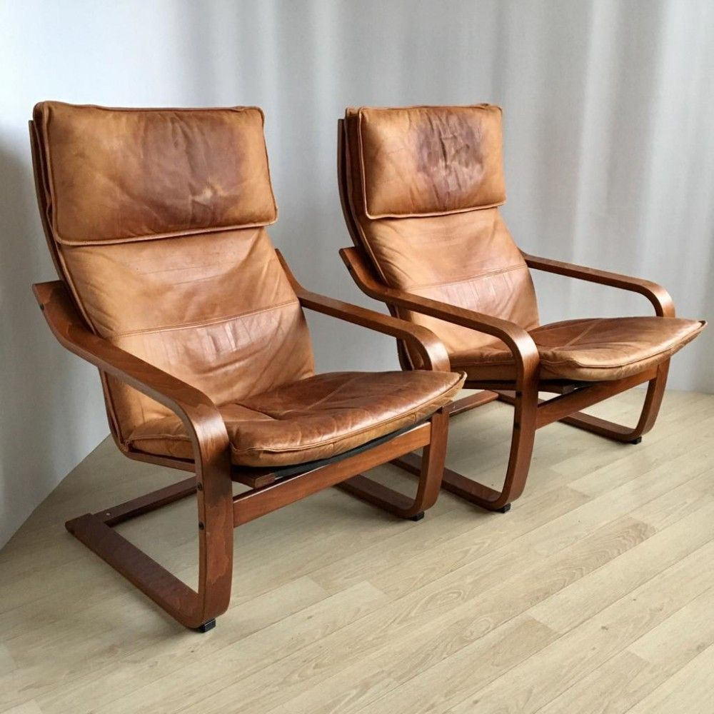 Pair Of Vintage Cognas Leather Poang Chairs By Noboru Nakamura For