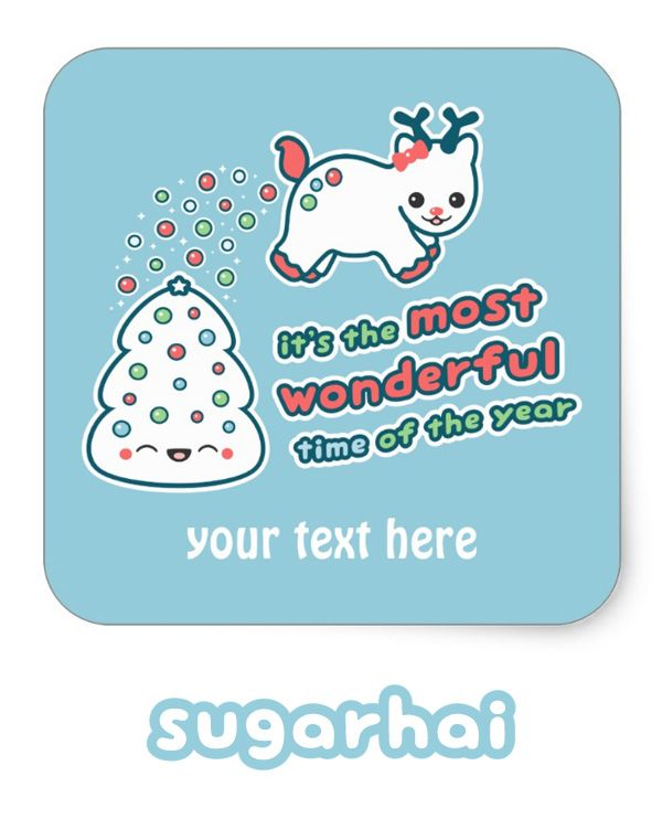 Super cute holiday reindeer stickers that you can personalize with your own text. Great for gift wrapping and Christmas cards.