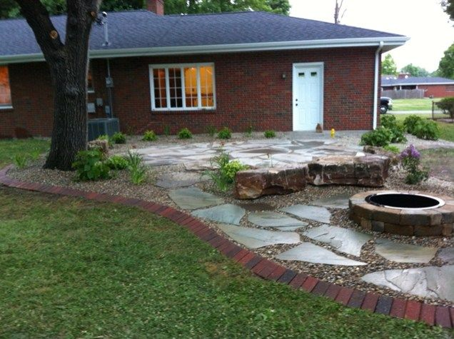Backyard, Flagstone Patio, Fire Pit Fire Pit Altered Grounds Landscaping  Granite City, IL | Fire | Pinterest | Patio Fire Pits, Flagstone Patio And  ...