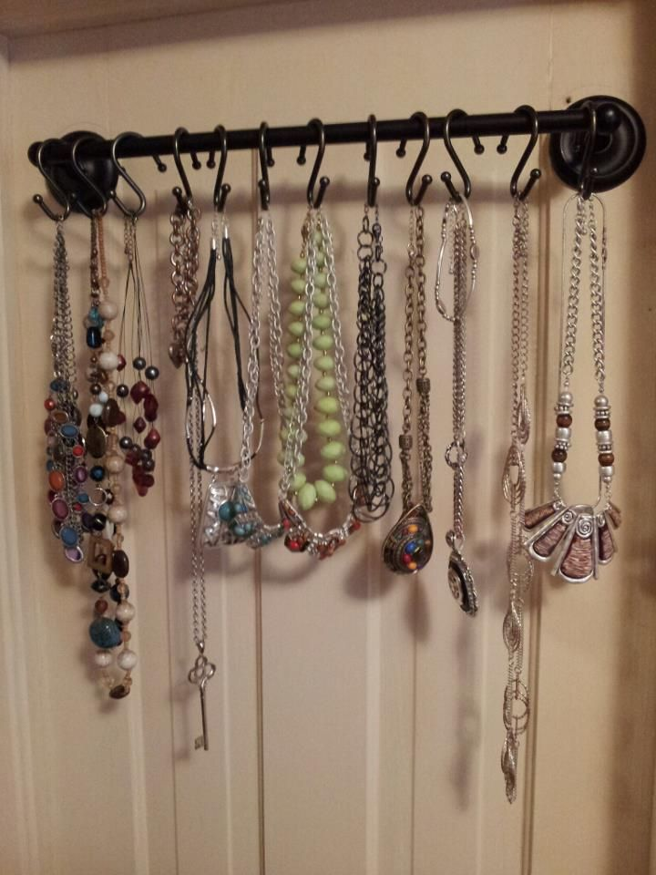 Necklace Keeper! Shower curtain rods & Towel rack!