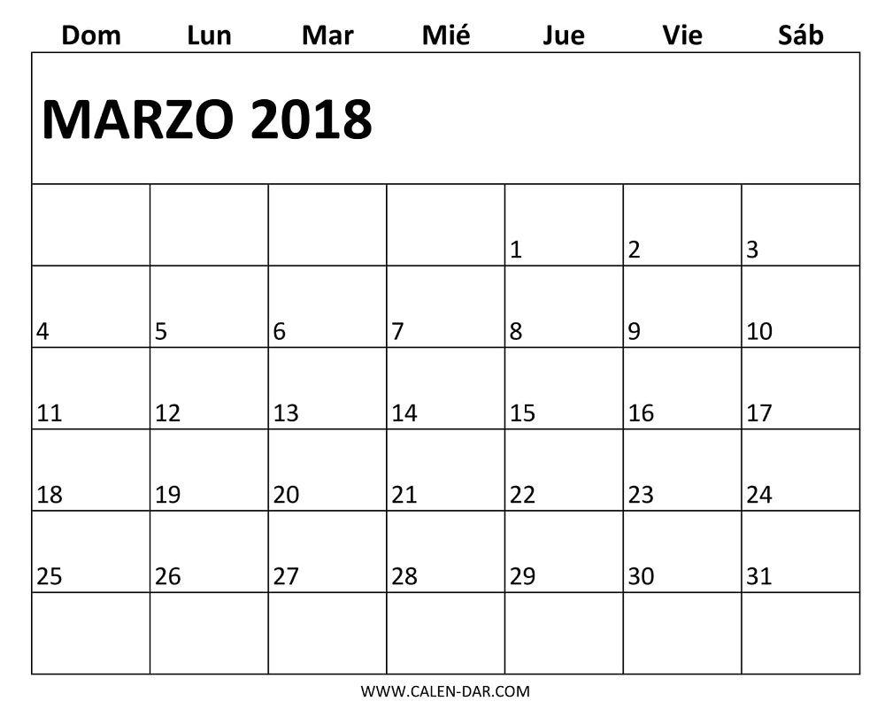 Mensual Marzo 2018 Calendario Imprimir | Animales | Pinterest ...