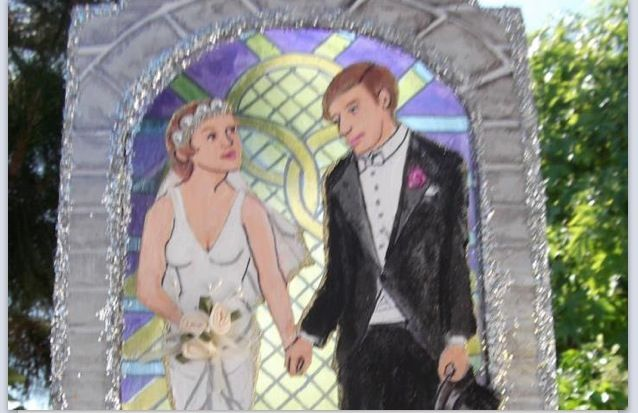 Send in a photo, and this artist will paint you a wedding topper!!! Amazing?!? Comment for deats:)