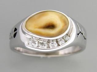 Gents Elk Ivory Ring 14K Yellow Gold | Elk Ivory Jewelry | Pinterest ...