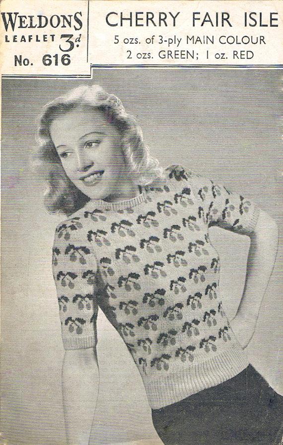 Cherry Fair Isle Sweater PDF Rare 1940s Knitting Pattern (T175) in ...