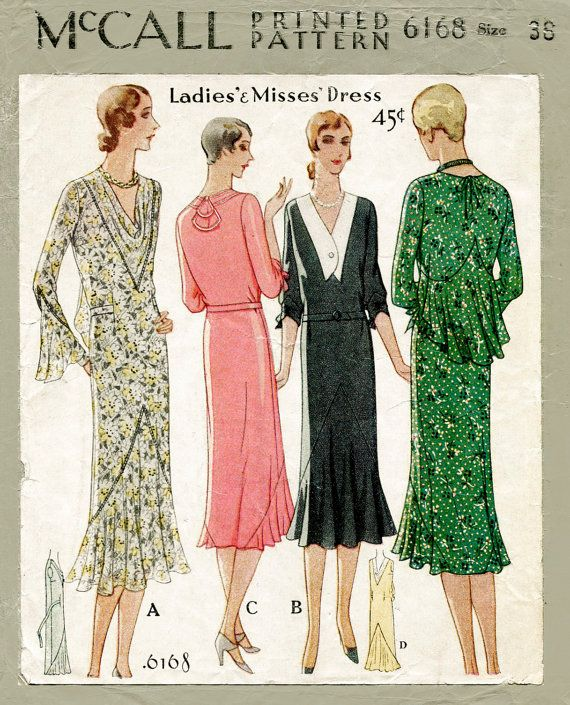 Vintage Sewing Pattern Reproduction 1930s 30s Dress Sewing Etsy Vintage Dress Patterns Vintage Sewing Patterns Vintage Outfits