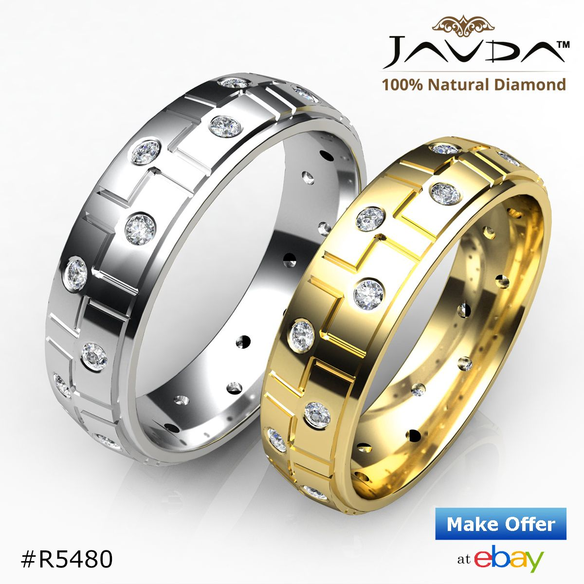 Modern men's wedding band collection made in 14k & 18k